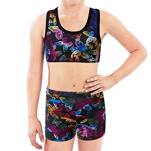 BAOHULU Girls 2PCS Sleeveless Top Bra and Shorts -Butterfly Gymnastics Leotard Dancing Clothes (Tag.No 12A (10-12 Years), (Cheerleader Clothes)