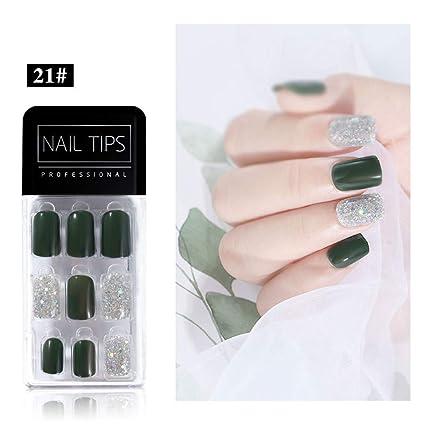 LILILICAT - 30 uñas postizas de uñas postizas con adhesivo de ...