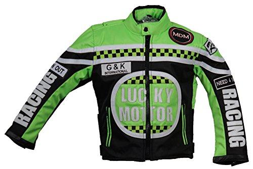 MDM Kinder Motorrad Jacke, Bikerjacke, Racing Jacke grün,