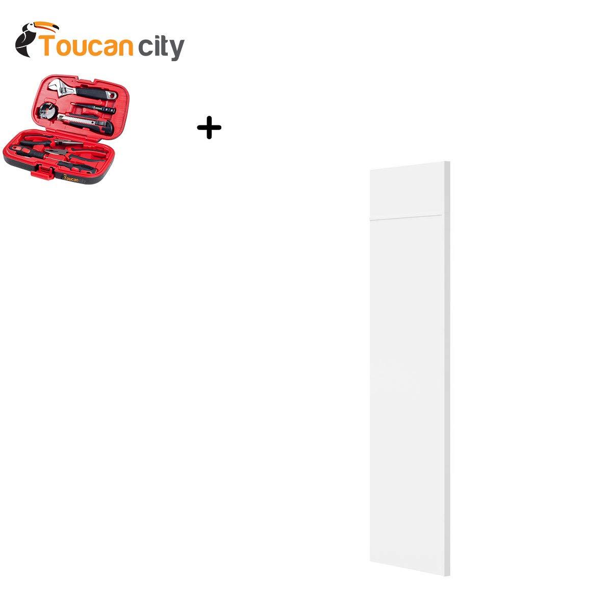Toucan City Tool Kit (9-Piece) and Hampton Bay 1.5x84x24 in. Refrigerator End Panel in Satin White KAREP-SW