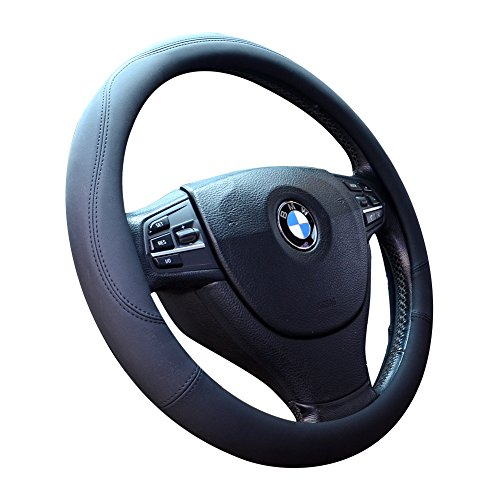 Microfiber Leather Steering Wheel Covers Universal 15 inch, Black