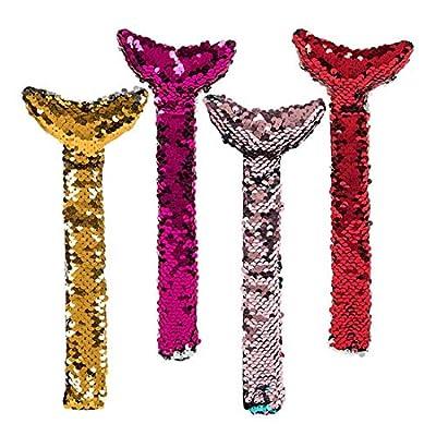 6 Piece Reversible Flip Sequin Mermaid Tail Slap Bracelets for Kids: Toys & Games