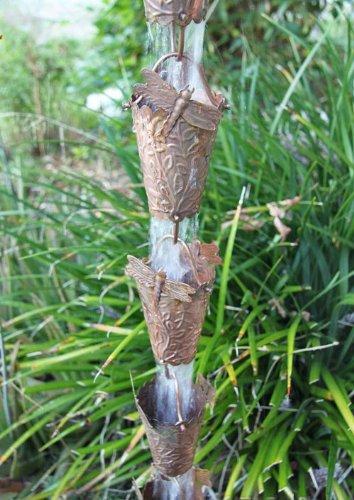 Dragonfly Cups Copper Rain Chain 2949 by Rainchains