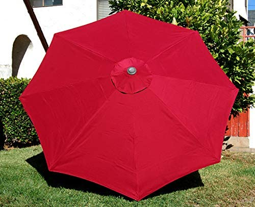 BELLRINO Replacement Umbrella Canopy for 9ft 8 Ribs Burgundy RED Canopy Only