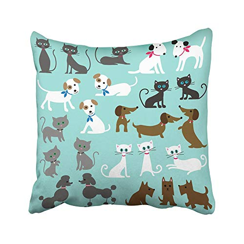 Emvency Decorative Throw Pillow Covers Cases Brown Cute Cats and Dogs Black Clipart Scottie Grey Poodle Animal Collar 20X20 Inches Pillowcases Case Cover Cushion Two -