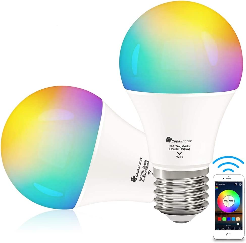 Smart Light Bulbs, CT CAPETRONIX WiFi Light Bulbs Work with Alexa, Echo, Google Home Assistant, IFTTT and Siri (No Hub Required), A19 E26 RGB Multicolor Dimmable LED Bulbs, 8w (60w Equivalent) 2 Pack
