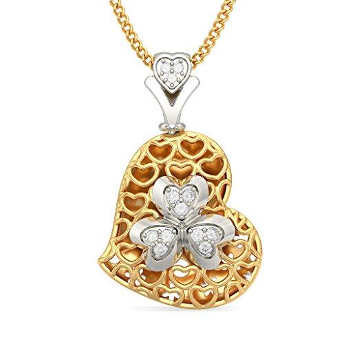 Or jaune 14K 0,06CT TW Round-cut-diamond (IJ | SI) et rubis Pendentif