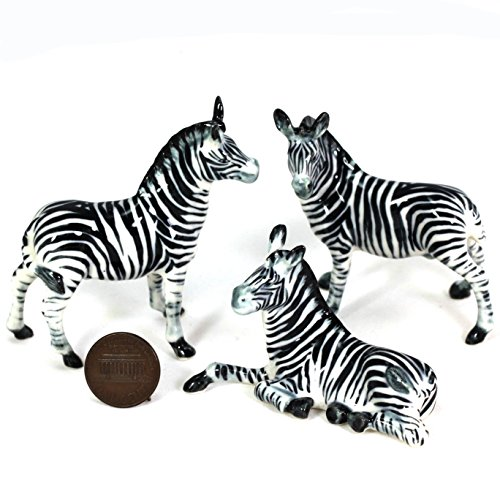 3 Zebra Family SET Ceramic Pottery Statue Miniature for sale  Delivered anywhere in USA
