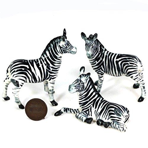 3 Zebra Family SET Ceramic Pottery Statue Miniature Animal Figurine Hand Painted ()