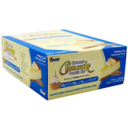 Advanced Nutrient Science INTL Gourmet Cheesecake Protein Bar - Birthday Cake Cheesecake Flavor - 12 bars