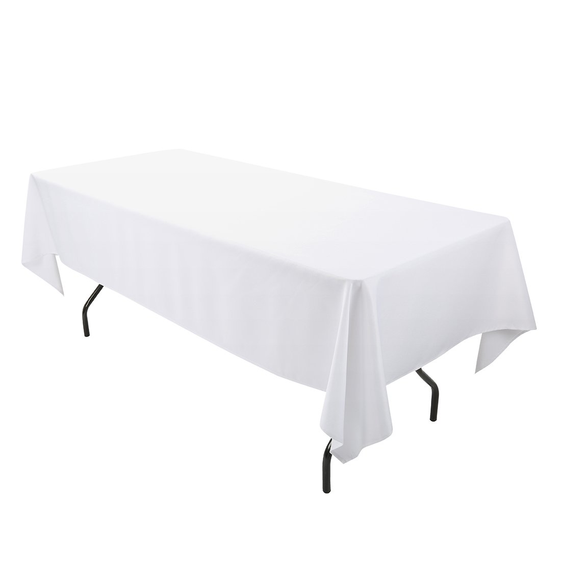 E-TEX 60 x 102-Inch Rectangular Tablecloth, 100% Polyester Washable Table Cloth for 6Ft. Rectangle Table, White by E-TEX