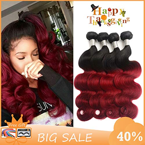 Dingfeng Hair Ombre Brazilian Hair Body Wave Bundles 4pcs Ombre Brazilian Virgin Hair Human Hair Weave Two Tone Black to Burgundy (16 16 16 - Ombre Human Hair Weave