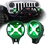 GooDGo 6 Inch Headlights 60W X-Shaped Car Automotive Led Light Front Bumper Daytime Running Light Off-Road Light for Jeep Wrangler SUV Armored Car, Pair (Green Light)