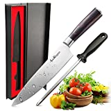 High Quality Kitchen Knife LauKingdom Chefs Knife, High Carbon Stainless Steel & Full Tang Blade Kitchen Knife with Sharpener