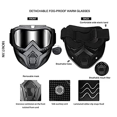Motorcycle Helmet Riding Goggles Glasses With Removable Face Mask,Detachable Fog-proof Warm Goggles Mouth Filter Adjustable Non-slip Strap Vintage Bullet Fight Motocross: Automotive