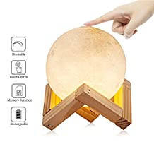 LOL Lighting Baby Night Light 3D Printing Moon Lamp Touch Sensor Control Adjustable Brightness Dimmable Warm Yellow Cold White LED Bedside Table Lamp for Kids Beadroom , Diameter 3.9 Inch