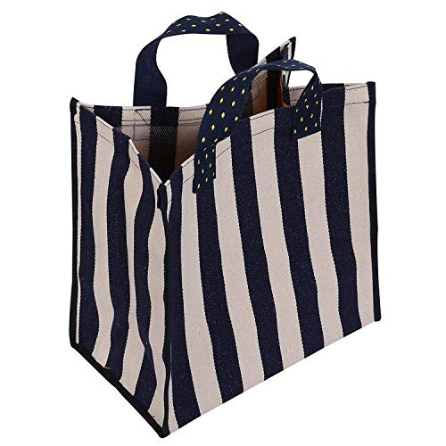 Reusable Grocery Bags Stylish Casual Canvas Shopping Tote Bag (Blue/White Stripe) -