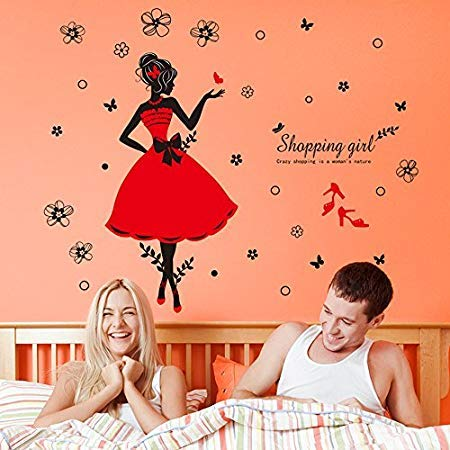 Fashion Shopping Girl Stickers Decorative Creative Removable Wall Sticker Happy Year Party Chinese - Wall Stickers