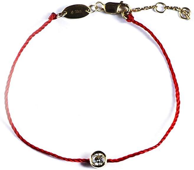 Hmois Lucky Rouge String Bracelet Corde 0,2 carat Charles réglable amitié Or 18 K Bijoux Bracelet pour femme