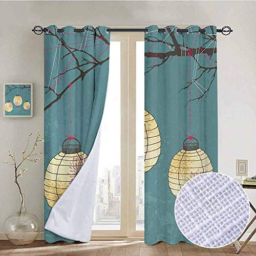 (NUOMANAN Living Room Curtains Lantern,Three Paper Lanterns Hanging on Branches Lighting Fixture Source Lamp Boho,Teal Light Yellow,Adjustable Tie Up Shade Rod Pocket Curtain 52