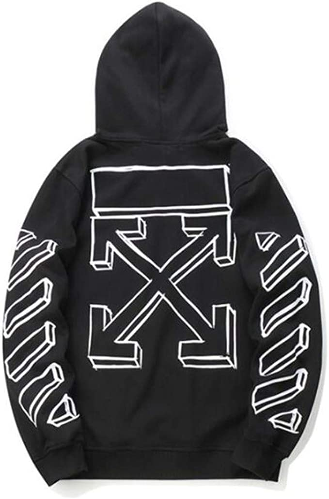 Off White Hoodie Loose Pullover Blue arrow print fashion Couple Sweatshirt new