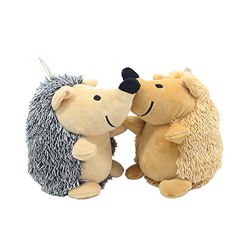 Love Pets Love Plush Squeak Toys for Small Dogs and Puppy Pet Bite Chew Toys with Squeakers Small Stuffed Dog Toys 2 Pack Hedgehog