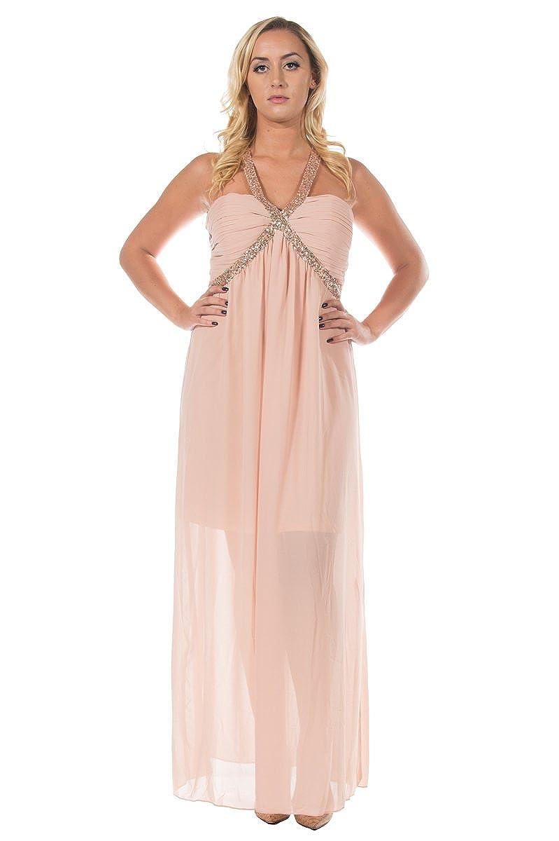 Womens Blush Elegant Goddess Sequin Empire Evening Formal Party