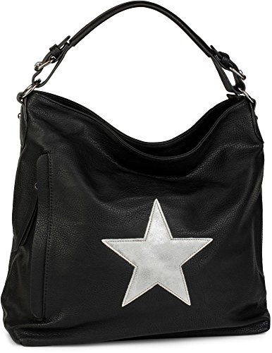 styleBREAKER Shopper Handtasche im Vintage Look mit Stern, Schultertasche, Umhängetasche, Damen 02012076, Farbe:Schwarz Schwarz