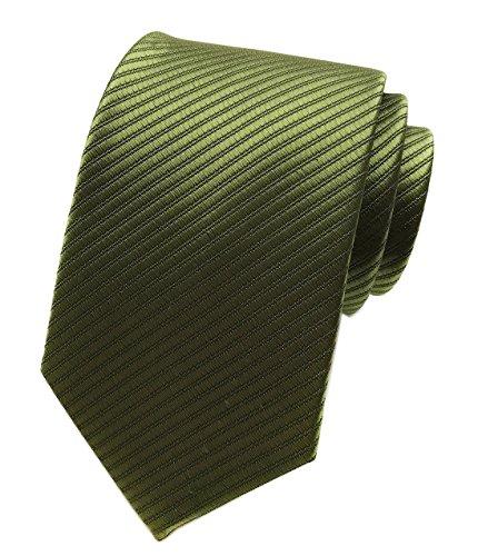 Elfeves Mens Narrow Army Green Woven Silk Tie Regular Soft Business Boys Necktie