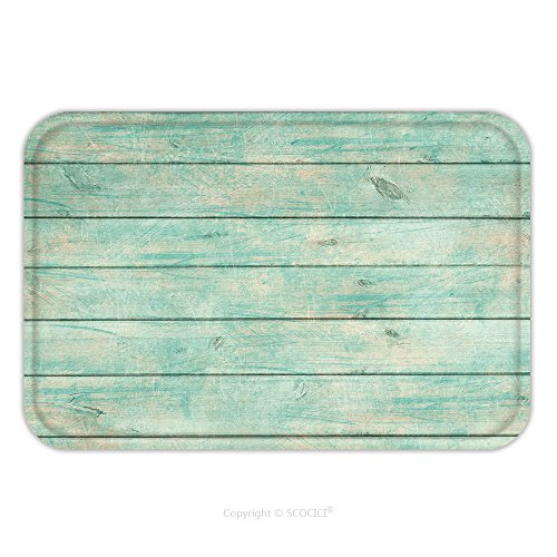 Flannel Microfiber Non Slip Rubber Backing Soft Absorbent Doormat Mat Rug Carpet Shabby Chic Wood Rustic Old Plank Background In Turquoise Mint And Beige Colors With Textured 383987761 For Indoor Outd