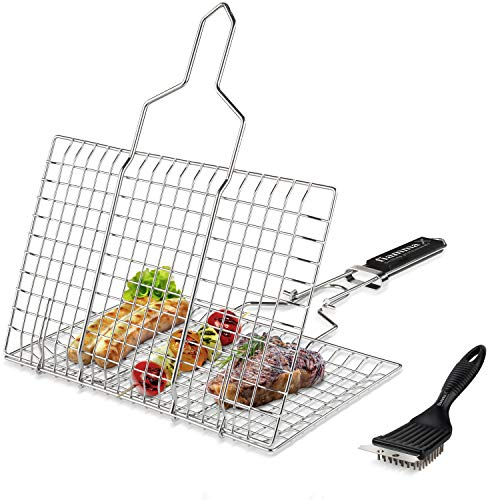 Fiamma Foldable Grill Basket - Durable Food Grade Stainless Steel Portable Grilling Basket for Fish, Meat, Vegetables, shrimp and seafood. Barbecue Basket with Removable Handle. Additional Grill Brush
