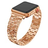 Wcysin Apple Watch Band 38mm 40mm Bling Diamond, Shinny Stainless Steel iWatch Bracelet for Apple Watch, Crystal Band for iWatch Apple Watch Series 4, 3, 2, 1 Sport Edition (Rose Gold)