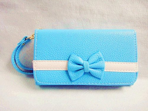 Bowknot Bow Girl Cute lovely Leather Wallet Purse Flip Smart-Phone Wristlet Clutch Leather Wallet Case Cover for Samsung Mobile Cell Phone 2 (Samsung Galaxy W i8150   Exhibit II 2 4G T679, blue)