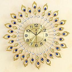 zhENfu Creative Peacock Wall Clock Of Europe Type StyleFashion Metal Set Auger ClockSitting Room Quiet Quartz Bracket Clock 6767CM Wall Clock