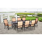 Hanover MANDN9PC Manor 9-Piece Rust-Free Aluminum Outdoor Patio Dining Set with 8 Tan Sling-Back Dining Chairs and a Cast-Top Rectangular Table Review