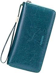 SENDEFN Women Leather Wallets RFID Blocking Zip Around Credit Card Holder Phone Clutch Wristlet
