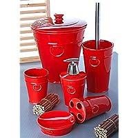 Sima 6 Parça Porselen Banyo Seti Çöp Kovalı 1078 Kırmızı