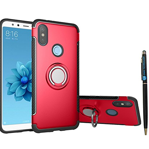 Xiaomi Mi A2 Lite Case DWaybox Hybrid Back Case Cover with 360 Degree Rotation Ring Holder for Xiaomi Mi A2 Lite/Redmi 6 Pro 5.84 Inch Compatible with Magnetic Car Mount Holder (Red)