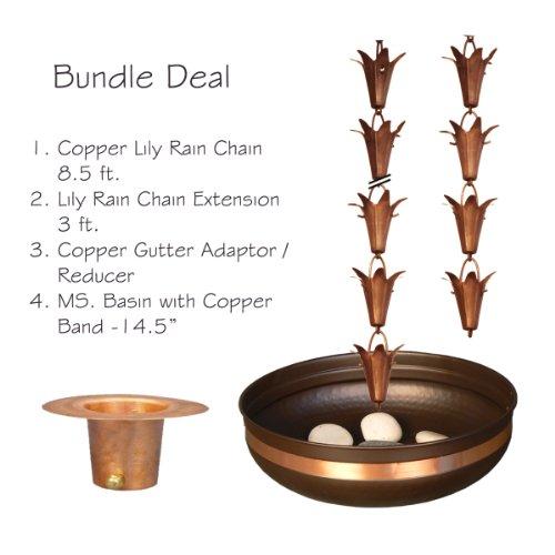 Monarch Pure Copper Lily Rain Chain Bundle Deal (Copper Lily Rain Chain)