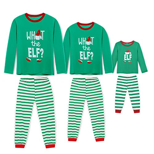 Rnxrbb Holiday Christmas Pajamas Family Matching Pjs Set Xmas Jammies for Couples and Kids Green Cotton,Men,L