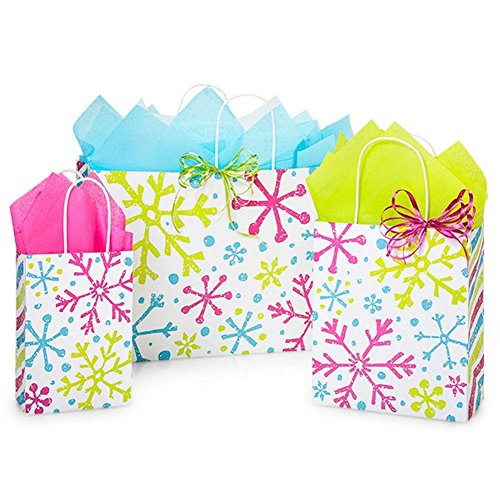 Snowflake Jubilee Paper Shopping Bag Assortment - 125 Pack by NW