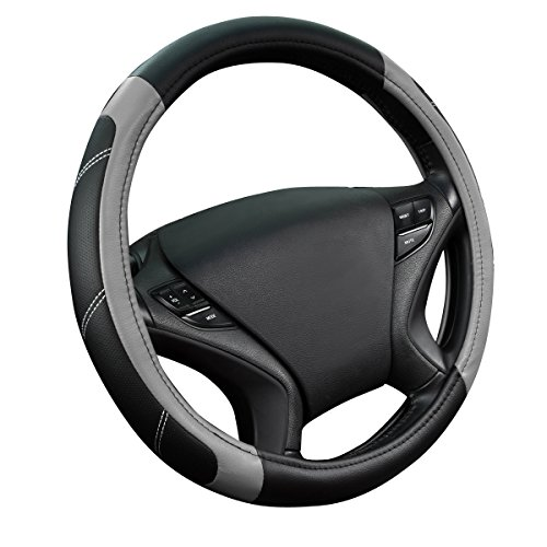 Wheel Superior Covers Steering (NEW ARRIVAL- CAR PASS Line Rider Leather Universal Steering Wheel Cover fits for Truck,Suv,Cars (Black and Gray))