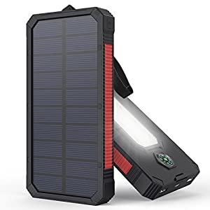 51E6xUFp04L. SS300  - Solar Charger, MeGa 10000mAh Portable Solar Power Bank Waterproof Dual USB Battery with Led Flashlight for iPhone, Samsung, Android phone, GoPro Camera, GPS
