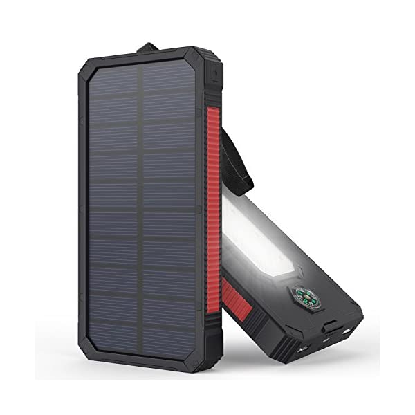 51E6xUFp04L. SS600  - Solar Charger, MeGa 10000mAh Portable Solar Power Bank Waterproof Dual USB Battery with Led Flashlight for iPhone, Samsung, Android phone, GoPro Camera, GPS