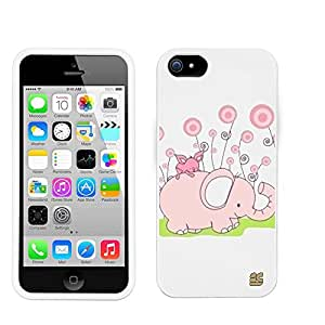 Iphone 5C/ IPhone 5C Lite (T-mobile,AT&T,Verizon,Sprint,International)Beyond Cell ?Premium Protection Slim Light Weight 2 piece Snap On Non-Slip Matte Hard Shell Rubber Coated Rubberized Phone Case Cover With Design - Pink Baby Elephant Design - Retail Packaging
