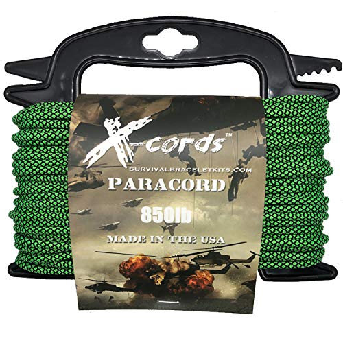 X-CORDS Paracord 850 Lb Stronger Than 550 and 750 Made by Us Government Certified Contractor (100' Zombie Green ON Spool 850 LB) by X-CORDS (Image #1)