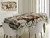 Unique Custom Cotton And Linen Blend Tablecloth Western Country Theme Hand Drawn Illustration Of American Wild West Desert With Cowboys Cream UmberTablecovers For Rectangle Tables, 60 x 40 Inches