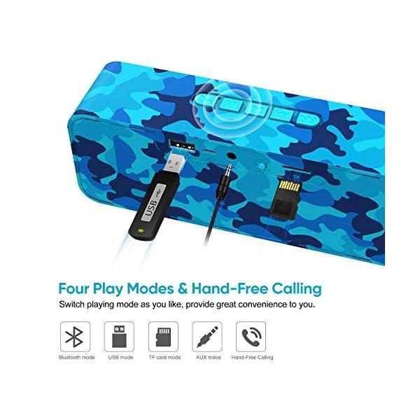 Enceinte Bluetooth 5.0 Portable, Axloie Macaron Haut-Parleur sans Fil HiFi Stéréo avec Microphone Mains Libres Entrée AUX/Clé USB/Carte TF 12 Heures Autonomie pour iOS Android Tablettes - Camouflage 4