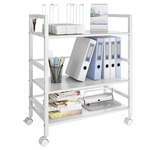 LANGRIA 3-Tier Kitchen Microwave Oven Rack Shelving Unit Microwave Shelves, Adjustable Microwave Storage Shelf with Wire Mesh Shelves Storage Rack, Ivory White - Wire Storage Carts