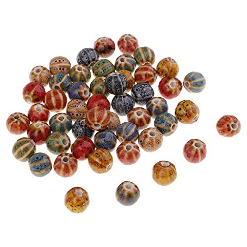 (Baosity 50 Pieces Vintage Watermelon Loose Enamel Ceramic Beads Charms for Jewelry Making Beading Sewing on Clothing Bag Decoration 10mm)